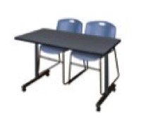 "48"" x 24"" Kobe T-Base Mobile Training Table - Grey & 2 Zeng Stack Chairs - Blue"