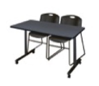 "48"" x 24"" Kobe T-Base Mobile Training Table - Grey & 2 Zeng Stack Chairs - Black"