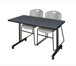 "48"" x 24"" Kobe T-Base Mobile Training Table - Grey & 2 Zeng Stack Chairs - Grey"
