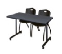 "48"" x 24"" Kobe T-Base Mobile Training Table - Grey & 2 'M' Stack Chairs - Black"