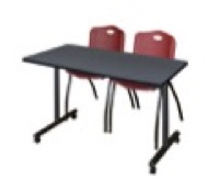 "48"" x 24"" Kobe T-Base Mobile Training Table - Grey & 2 'M' Stack Chairs - Burgundy"