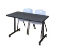 "48"" x 24"" Kobe T-Base Mobile Training Table - Grey & 2 'M' Stack Chairs - Grey"