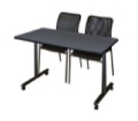 "48"" x 24"" Kobe T-Base Mobile Training Table - Grey & 2 Mario Stack Chairs - Black"