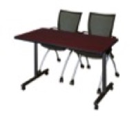 "48"" x 24"" Kobe T-Base Mobile Training Table - Mahogany & 2 Apprentice Chairs - Black"