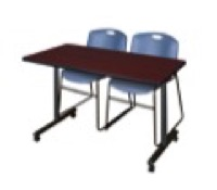 "48"" x 24"" Kobe T-Base Mobile Training Table - Mahogany & 2 Zeng Stack Chairs - Blue"