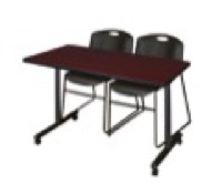 "48"" x 24"" Kobe T-Base Mobile Training Table - Mahogany & 2 Zeng Stack Chairs - Black"