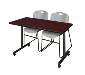 "48"" x 24"" Kobe T-Base Mobile Training Table - Mahogany & 2 Zeng Stack Chairs - Grey"