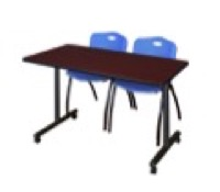 "48"" x 24"" Kobe T-Base Mobile Training Table - Mahogany & 2 'M' Stack Chairs - Blue"