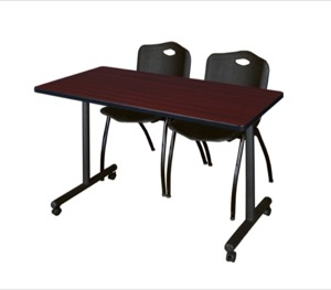 "48"" x 24"" Kobe T-Base Mobile Training Table - Mahogany & 2 'M' Stack Chairs - Black"