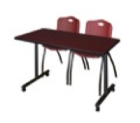 "48"" x 24"" Kobe T-Base Mobile Training Table - Mahogany & 2 'M' Stack Chairs - Burgundy"