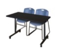 "48"" x 24"" Kobe T-Base Mobile Training Table - Mocha Walnut & 2 Zeng Stack Chairs - Blue"