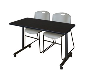 "48"" x 24"" Kobe T-Base Mobile Training Table - Mocha Walnut & 2 Zeng Stack Chairs - Grey"