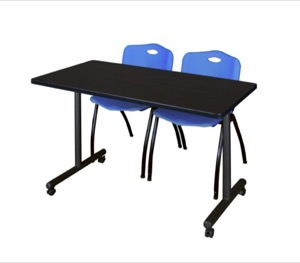 "48"" x 24"" Kobe T-Base Mobile Training Table - Mocha Walnut & 2 'M' Stack Chairs - Blue"