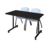 "48"" x 24"" Kobe T-Base Mobile Training Table - Mocha Walnut & 2 'M' Stack Chairs - Grey"