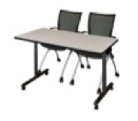 "48"" x 24"" Kobe T-Base Mobile Training Table - Maple & 2 Apprentice Chairs - Black"