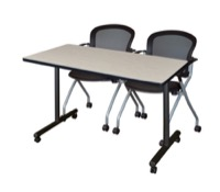 "48"" x 24"" Kobe T-Base Mobile Training Table - Maple & 2 Cadence Chairs - Black"