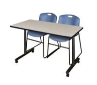 "48"" x 24"" Kobe T-Base Mobile Training Table - Maple & 2 Zeng Stack Chairs - Blue"