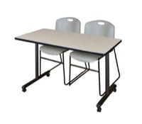 "48"" x 24"" Kobe T-Base Mobile Training Table - Maple & 2 Zeng Stack Chairs - Grey"