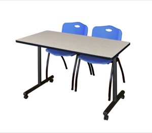 "48"" x 24"" Kobe T-Base Mobile Training Table - Maple & 2 'M' Stack Chairs - Blue"