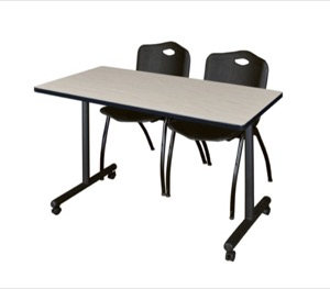 "48"" x 24"" Kobe T-Base Mobile Training Table - Maple & 2 'M' Stack Chairs - Black"