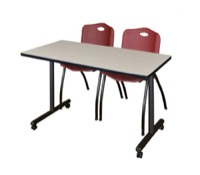 "48"" x 24"" Kobe T-Base Mobile Training Table - Maple & 2 'M' Stack Chairs - Burgundy"