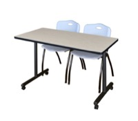 "48"" x 24"" Kobe T-Base Mobile Training Table - Maple & 2 'M' Stack Chairs - Grey"