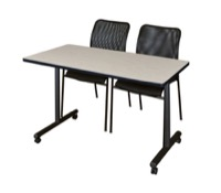 "48"" x 24"" Kobe T-Base Mobile Training Table - Maple & 2 Mario Stack Chairs - Black"