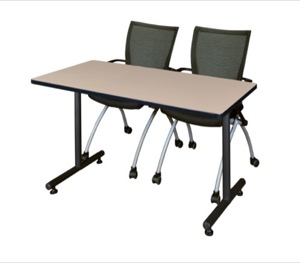 "48"" x 24"" Kobe Training Table - Beige & 2 Apprentice Chairs - Black"