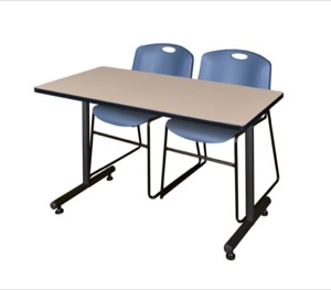 "48"" x 24"" Kobe Training Table - Beige & 2 Zeng Stack Chairs - Blue"