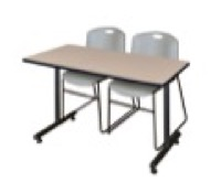 "48"" x 24"" Kobe Training Table - Beige & 2 Zeng Stack Chairs - Grey"