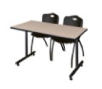 "48"" x 24"" Kobe Training Table - Beige & 2 'M' Stack Chairs - Black"