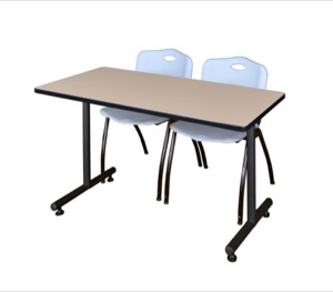 "48"" x 24"" Kobe Training Table - Beige & 2 'M' Stack Chairs - Grey"
