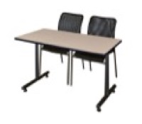 "48"" x 24"" Kobe Training Table - Beige & 2 Mario Stack Chairs - Black"