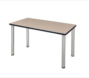 "42"" x 24"" Kee Training Table - Beige/ Chrome"