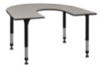 "66"" x 60"" Horseshoe Shaped Height Adjustable Classroom Table - Maple"