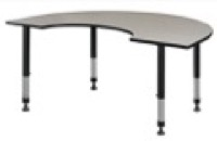 "72"" x 48"" Kidney Shaped Height Adjustable Classroom Table - Maple"