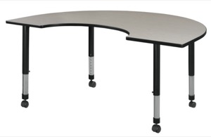 "72"" x 48"" Kidney Shaped Height Adjustable Mobile Classroom Table - Maple"