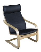 Niche Mia Bentwood Reclining Chair - Natural/ Black Leather
