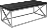 Park Ridge Collection -Black Coffee Table - Silver Frame