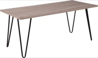 Oak Park Collection - Driftwood Wood Grain Coffee Table - Black Metal Legs