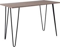Oak Park Collection - Driftwood Wood Grain Console Table - Black Metal Legs
