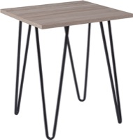 Oak Park Collection - Driftwood Wood Grain End Table - Black Metal Legs