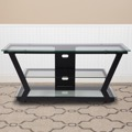 Harbor Hills Collection -  Glass TV Stand - Black Metal Frame