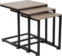 Midtown Collection - Sonoma Oak Wood Grain Nesting Tables - Black Metal Cantilever Base