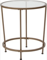Astoria Collection - Glass End Table - Matte Gold Frame