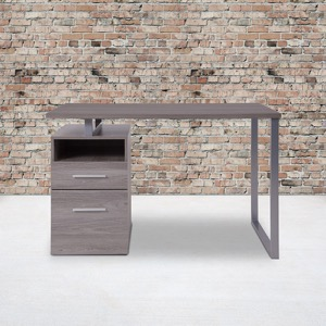 Harwood Collection - Light Ash Wood Grain Finish Computer Desk - Two Drawers and Silver Metal Frame