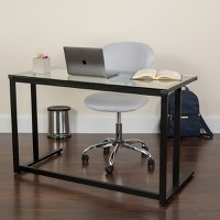 Glass Desk with Black Frame
