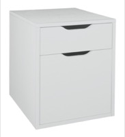 Niche Mod Freestanding Box File Pedestal with no Tools Assembly - White Wood Grain