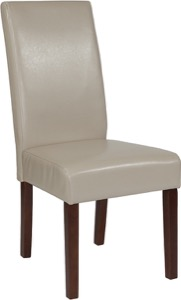 Beige Leather Parsons Chair