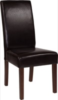 Brown Leather Parsons Chair